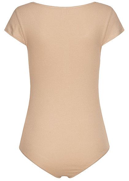 Seventyseven Lifestyle Damen Ribbed T-Shirt Body mit Knopfleiste beige