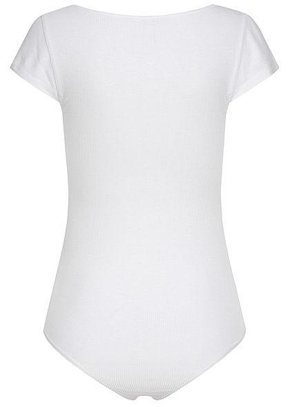 Seventyseven Lifestyle Damen Ribbed T-Shirt Body mit Knopfleiste bright weiss