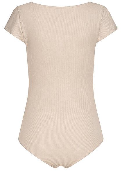Seventyseven Lifestyle Damen Ribbed T-Shirt Body mit Knopfleiste bright taupe beige