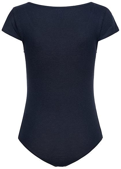 Seventyseven Lifestyle Damen Ribbed T-Shirt Body mit Knopfleiste navy blau