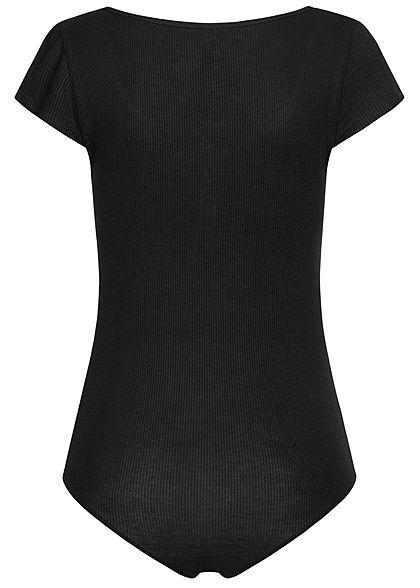 Seventyseven Lifestyle Damen Ribbed T-Shirt Body mit Knopfleiste schwarz