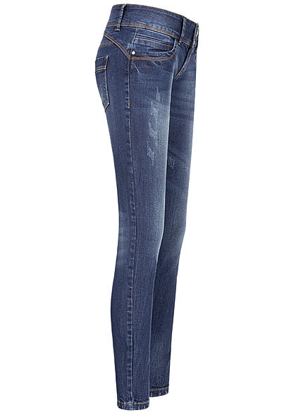 Seventyseven Lifestyle Damen Skinny Jeans Hose 5-Pockets 3er Knopfleiste dunkel blau