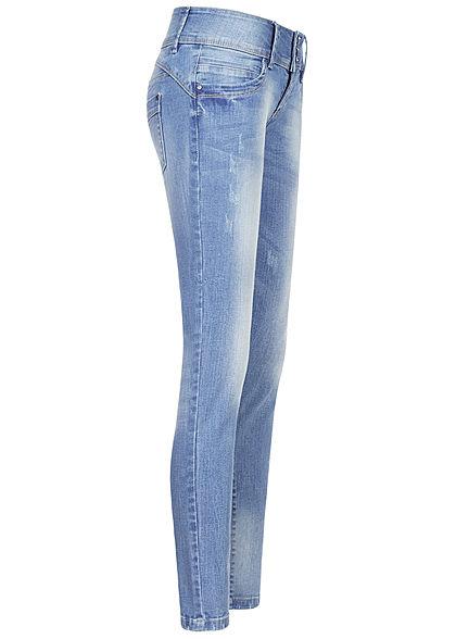 Seventyseven Lifestyle Damen Skinny Jeans Hose 5-Pockets 3er Knopfleiste hell blau den.