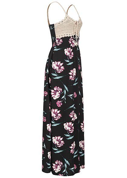 Seventyseven Lifestyle Damen V-Neck Maxi Kleid Häkelbesatz Blumen Muster schwarz pink