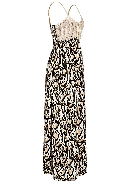 Seventyseven Lifestyle Damen V-Neck Maxi Kleid Häkelbesatz Leo Print weiss beige