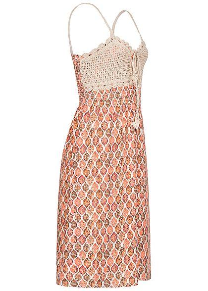Seventyseven Lifestyle Damen V-Neck Midi Kleid Häkelbesatz Rauten Muster rosa weiss