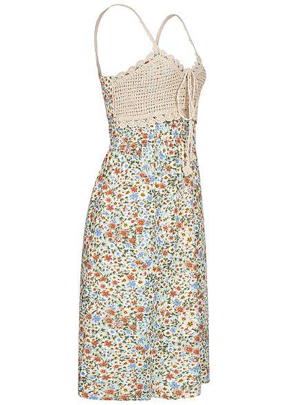 Seventyseven Lifestyle Damen V-Neck Midi Kleid Häkelbesatz Blumen Muster soft grün blau