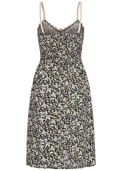 Seventyseven Lifestyle Damen V-Neck Midi Kleid Häkelbesatz Blumen Muster schwarz weiss