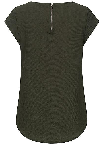 ONLY Damen NOOS Solid Blusen Shirt Struktur Muster Zipper rosin dunkel grün
