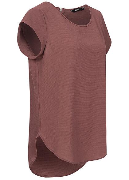 ONLY Damen NOOS Solid Blusen Shirt Struktur Muster Zipper dunkel rosa braun