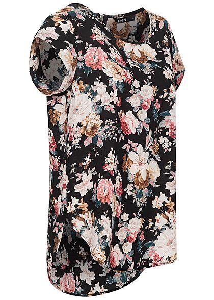 ONLY Damen NOOS Blusen Top Blumen Print Vokuhila Zipper Rosen Muster schwarz
