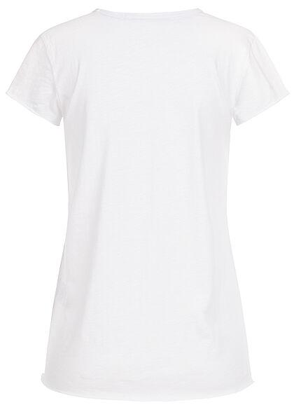 Rock Angel Damen T-Shirt mit Brusttasche & Rollsaumkanten weiss