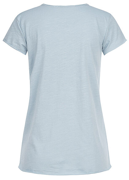 Rock Angel Damen T-Shirt mit Brusttasche & Rollsaumkanten vintage jeans blau