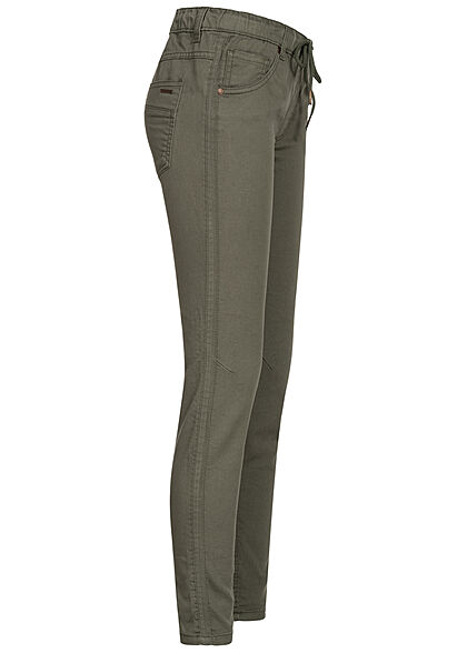 Fresh Made Damen Sweat Hose Stoffhose mit Tunnelzug 5-Pockets ivy oliv grün