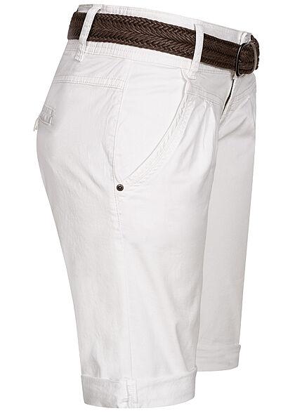 Fresh Made Damen Bermuda Shorts mit Flechtgürtel 4-Pockets  weiss