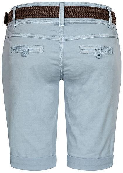 Fresh Made Damen Bermuda Shorts mit Flechtgürtel 4-Pockets  aqua hellblau