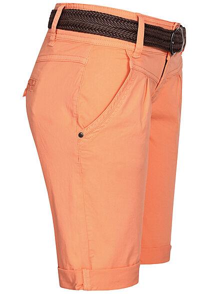 Fresh Made Damen Bermuda Shorts mit Flechtgürtel 4-Pockets  melon orange