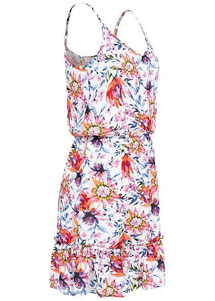 Sublevel Damen V-Neck Midi Sommer Kleid Blumen Print Taillengummibund weiss mc