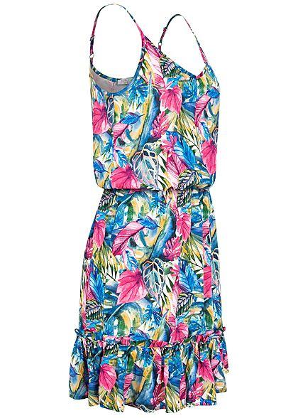 Sublevel Damen V-Neck Midi Sommer Kleid Tropical Print Taillengummibund multicolor