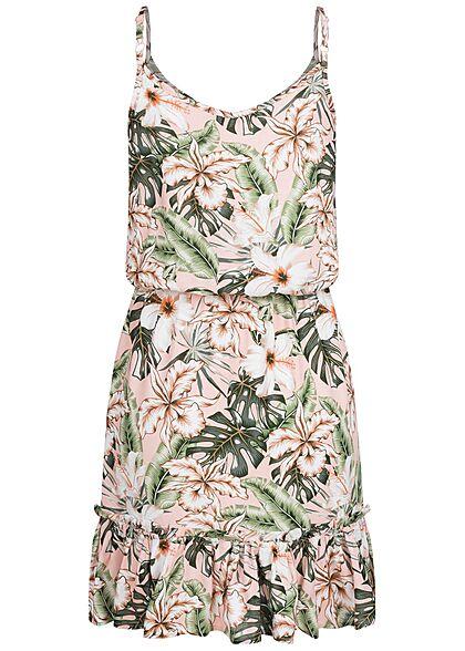 Sublevel Damen V-Neck Midi Sommer Kleid Tropical Print Taillengummibund rosa grün