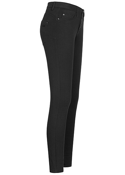 Sublevel Damen Skinny Shape-Up Viskose Hose mit Knopfleiste schwarz