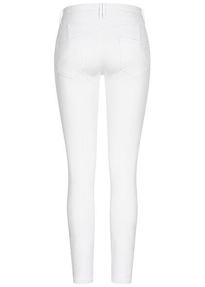 Sublevel Damen Skinny Shape-Up Viskose Hose mit Knopfleiste weiss