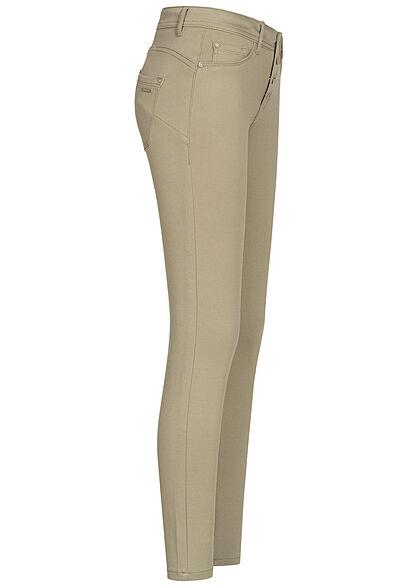 Sublevel Damen Skinny Shape-Up Viskose Hose mit Knopfleiste sage grün