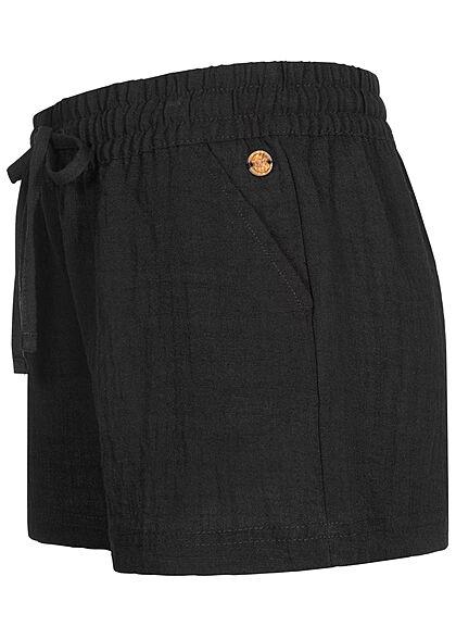 Eight2Nine Damen Viskose Sommer Shorts in Leinenoptik 2-Pockets schwarz