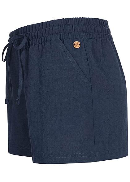 Eight2Nine Damen Viskose Sommer Shorts in Leinenoptik 2-Pockets dark navy blau