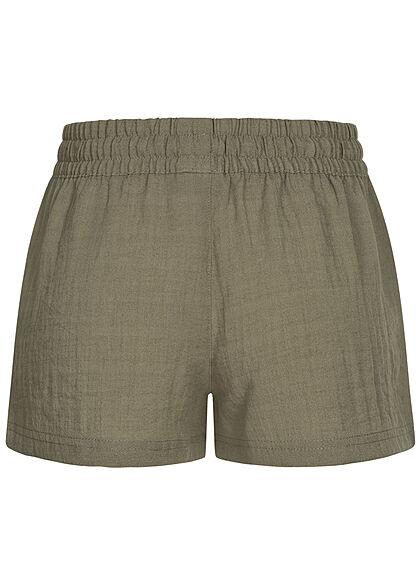 Eight2Nine Damen Viskose Sommer Shorts in Leinenoptik 2-Pockets washed oliv grün