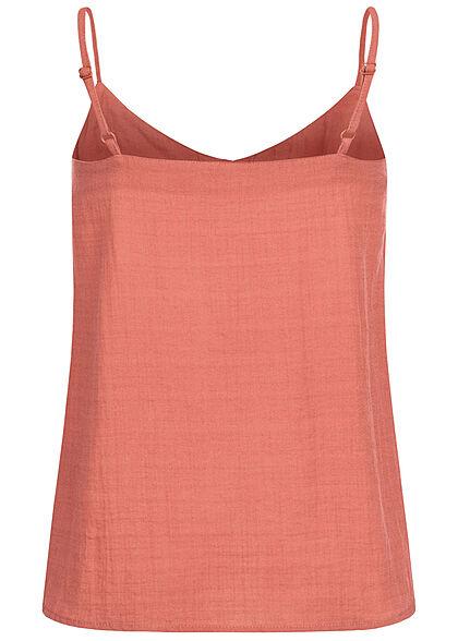 Eight2Nine Damen Viskose V-Neck Top in Leinenoptik mit Knopfleiste soft rot