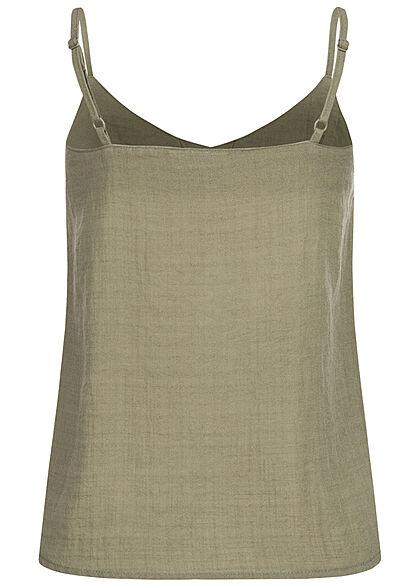Eight2Nine Damen Viskose V-Neck Top in Leinenoptik mit Knopfleiste washed oliv