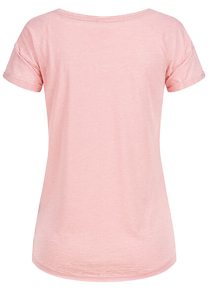 Eight2Nine Damen T-Shirt mit Safari Print & offenen Kanten peachskin rose