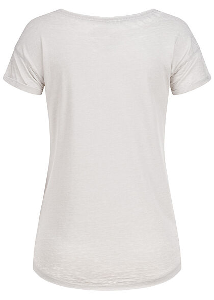 Eight2Nine Damen T-Shirt mit Safari Print & offenen Kanten quiet grau