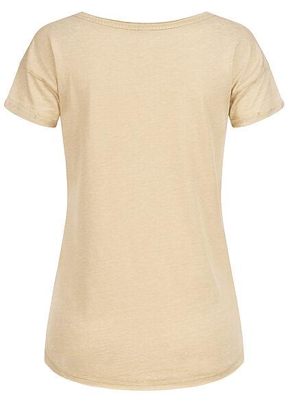 Eight2Nine Damen T-Shirt mit Safari Print & offenen Kanten safari beige