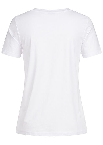 Stitch and Soul Damen V-Neck T-Shirt mit Herzstickerei weiss