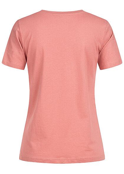 Stitch and Soul Damen V-Neck T-Shirt mit Herzstickerei blush dunkel rose