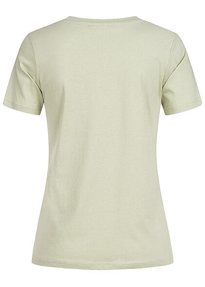Stitch and Soul Damen V-Neck T-Shirt mit Herzstickerei greyish hell grün