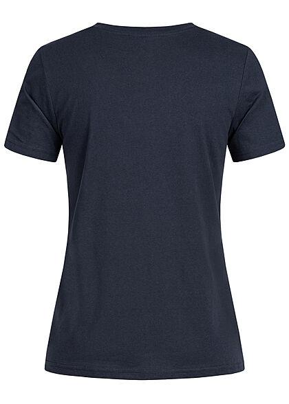 Stitch and Soul Damen V-Neck T-Shirt mit Herzstickerei night navy blau