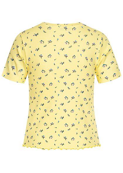 Stitch and Soul Damen Ribbed Frill T-Shirt Blumen Muster chardonnay gelb