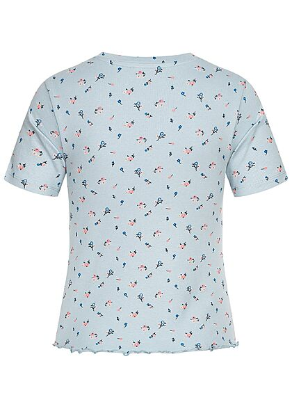 Stitch and Soul Damen Ribbed Frill T-Shirt Blumen Muster vintage jeans blau