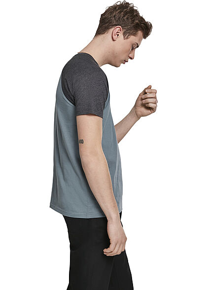 Urban Classics Herren 2-Tone Raglan T-Shirt dusty blau charcoal dunkel grau
