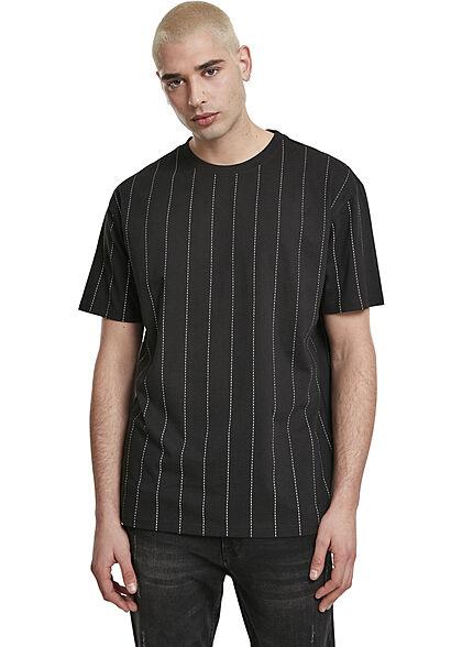 Urban Classics Herren T-Shirt Nadel Streifen Print schwarz weiss
