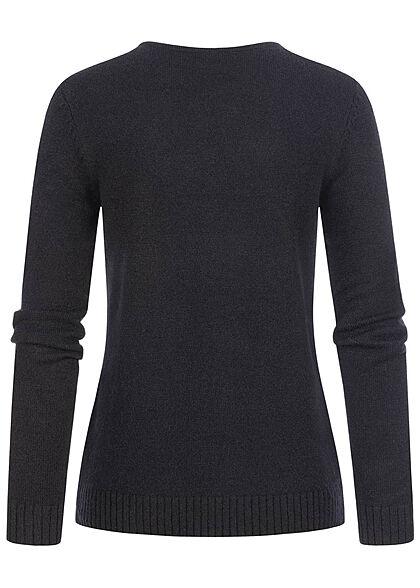 VILA Damen NOOS V-Neck weicher Strickpullover Sweater schwarz