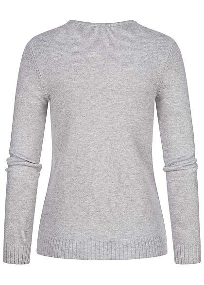 VILA Damen NOOS V-Neck weicher Strickpullover Sweater hell grau melange