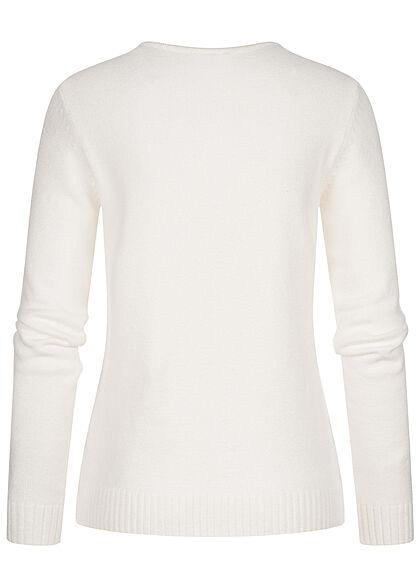 VILA Damen NOOS V-Neck weicher Strickpullover Sweater alyssum weiss