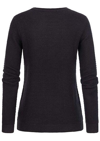 VILA Damen NOOS Struktur Strickpullover Sweater schwarz