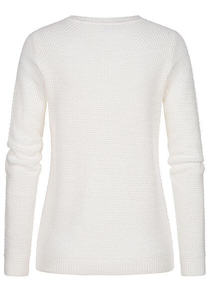 VILA Damen NOOS Struktur Strickpullover Sweater pristine weiss