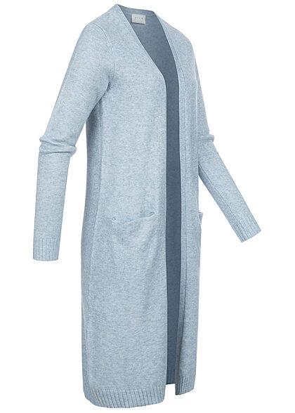 VILA Damen NOOS Longform Cardigan offener Schnitt 2-Pockets ashley hell blau