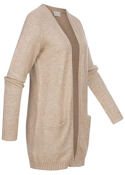 VILA Damen NOOS Longform Cardigan offener Schnitt 2-Pockets natural beige mel